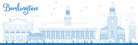 tree line: Outline Burlington (Vermont) City Skyline with Blue Buildings. Vector Illustration. Business and tourism concept with historic buildings. Image for presentation, banner, placard or web site Illustration