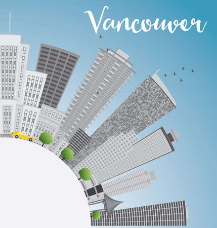 vancouver city: Vancouver skyline with gray buildings, blue sky and copy space. Vector illustration. Business travel and tourism concept with place for text. Image for presentation, banner, placard and web site. Illustration