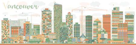 色のランドマークとバンクーバーのスカイラインを抽象化します。ベクトルの図。ビジネス旅行と観光コンセプト歴史的建造物。プレゼンテーション、バナー、プラカード、web サイトのイメージです。