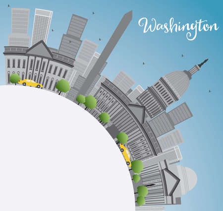 jefferson: Washington DC city skyline with Gray Landmarks and Copy Space. Business travel and tourism concept with place for text. Image for presentation, banner, placard and web site. Vector illustration.