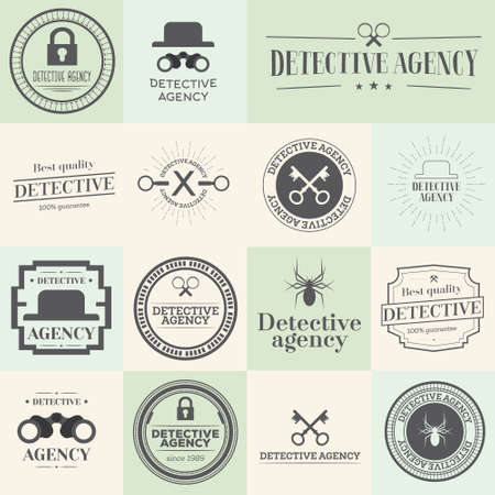 detective agency: Label badges and stamps set for detective agency. Vector illustration. Objects for web site, documents and other designs.