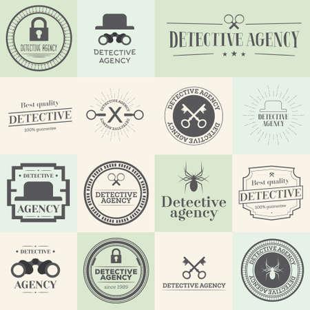 distintivi di etichette e timbri impostati per agenzia di investigazioni. Illustrazione vettoriale. Oggetti per il sito web, documenti e altri disegni.