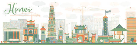 Abstract Hanoi skyline with color landmarks. Vector illustration. Business travel and tourism concept with historic buildings. Image for presentation, banner, placard and web site. Ilustração