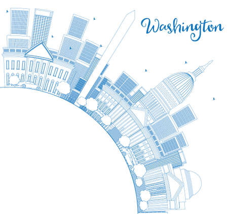 jefferson: Outline Washington DC Skyline with Copy Space and Blue Buildings. Business travel and tourism concept with place for text. Image for presentation, banner, placard and web site Vector illustration.