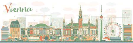 Abstracte skyline van Wenen met kleur bezienswaardigheden. Vector illustratie. Zakelijke reizen en toerisme concept met historische gebouwen. Afbeelding voor de presentatie, banner, aanplakbiljet en website.