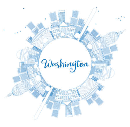 dc: Outline Washington DC Skyline with Copy Space and Blue Buildings. Business travel and tourism concept with place for text. Image for presentation, banner, placard and web site Vector illustration.