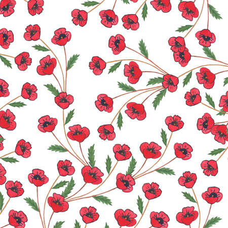 herbal background: Watercolor vintage background with flowers and leaves. Pattern with hand painted poppies and green leaves. Illustration for paper or fabric designs. Stock Photo
