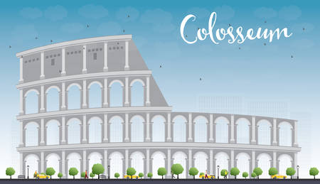 Colosseum in Rome with blue sky. Italy. Vector illustration. Business Travel and Tourism Conceptwith Historic Landmark.Image for Presentation, Banner, Placard and Web Site. Stock Illustratie