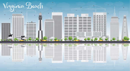 in reflection: Virginia Beach (Virginia) Skyline with Gray Buildings and Reflections. Vector Illustration. Business Travel and Tourism Concept with Copy Space. Image for Presentation, Banner, Placard and Web Site
