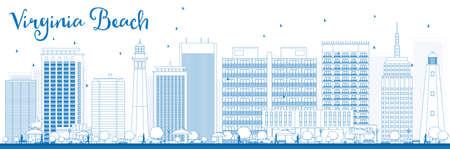 Contour Skyline Virginia Beach (Virginie) avec des bâtiments bleus. Illustration vectorielle Concept de voyages d'affaires et de tourisme avec des bâtiments modernes. Image pour présentation, bannière, pancarte et site Web