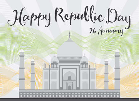 mahal: Happy Indian Republic Day celebration. Vector illustration. Concept with Taj Mahal and lines.