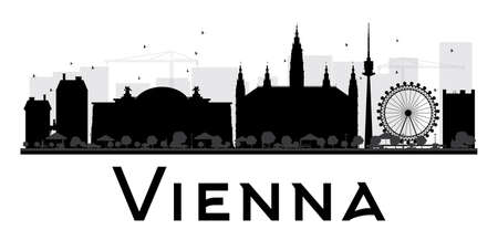 Vienna City skyline black and white silhouette. Vector illustration. Simple flat concept for tourism presentation, banner, placard or web site. Business travel concept. Cityscape with landmarks