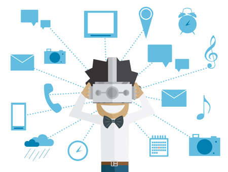 ar: Man and head-mounted display. Vector illustration. Image in flat design style. Virtual Reality concept.