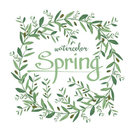 branches with leaves: Watercolor olive wreath with spring text. Isolated illustration on white background. Organic and natural concept.