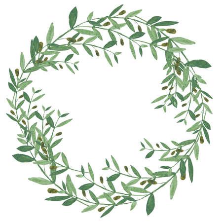 Acuarela corona de olivo. ilustración sobre fondo blanco. concepto orgánico y natural.