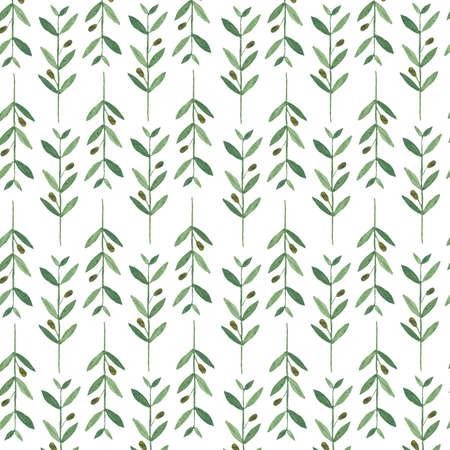 Waterverf het patroon met olijftakken. Illustratie op een witte achtergrond. Natuur en biologische concept. Natuurlijk product. Stockfoto