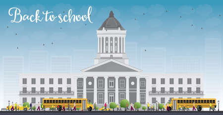 townhouses: Landscape with school bus, school building and people. Vector illustration. Education concept.