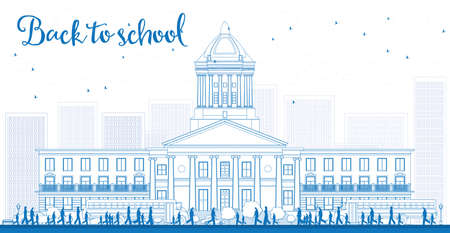 townhouses: Outline Landscape with school bus, school building and people. Vector illustration. Education concept.