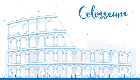 colloseum: Outline Colosseum in Rome. Italy. Vector illustration. Business Travel and Tourism Concept with Historic Landmark. Image for Presentation, Banner, Placard and Web Site.