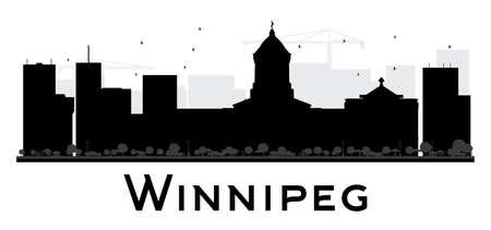 winnipeg: Winnipeg City skyline black and white silhouette.