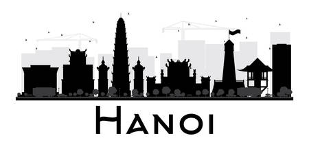 Hanoi City skyline black and white silhouette. Vector illustration. Simple flat concept for tourism presentation, banner, placard or web site. Business travel concept. Cityscape with famous landmarks Stock Illustratie