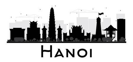 Hanoi City skyline zwart-wit silhouet. Vector illustratie. Eenvoudig flat concept voor toerisme presentatie, banner, plakkaart of website. Business travel concept. Stadsgezicht met beroemde bezienswaardigheden