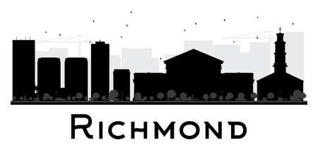 Silhouette noire et blanche de Richmond City skyline. Illustration vectorielle Concept de plat simple pour la présentation du tourisme, bannière, plaque ou web. Concept de voyage d'affaires. Paysage urbain avec des points de repère Vecteurs