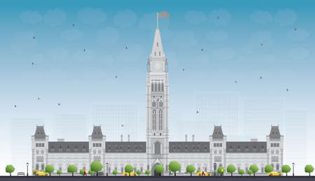 historic building: Parliament Building in Ottawa, Canada. Vector illustration. Business Travel and Tourism Concept with Historic Building. Image for Presentation Banner Placard and Web Site.