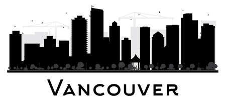 vancouver city: Vancouver City skyline black and white silhouette. Vector illustration. Simple flat concept for tourism presentation, banner, placard or web site. Business travel concept. Cityscape with famous landmarks