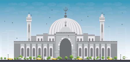 al: Al Fateh Grand Mosque in Manama City. Bahrain. Vector Illustration.