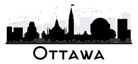 ottawa: Ottawa City skyline black and white silhouette. Vector illustration. Simple flat concept for tourism presentation, banner, placard or web. Business travel concept. Cityscape with landmarks
