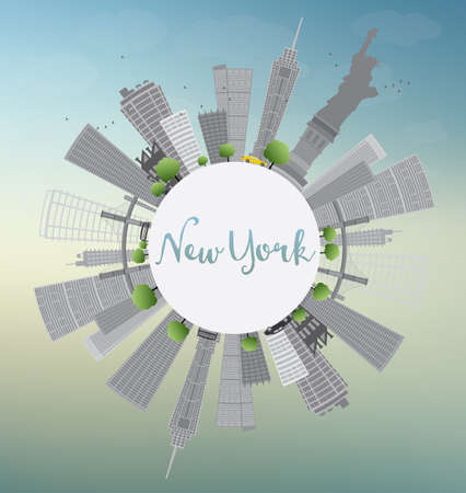 new york taxi: New York Skyline with Gray Buildings, Blue Sky and Copy Space. Business travel and tourism concept with place for text. Image for presentation, banner, placard and web site. Vector Illustration.