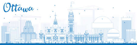 ottawa: Outline Ottawa Skyline with Blue Buildings. Vector Illustration. Business travel and tourism concept with modern buildings. Image for presentation, banner, placard and web site. Illustration