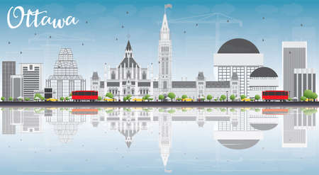 ottawa: Ottawa Skyline with Gray Buildings, Blue Sky and Reflections. Vector Illustration. Business travel and tourism concept with modern buildings. Image for presentation, banner, placard and web site.