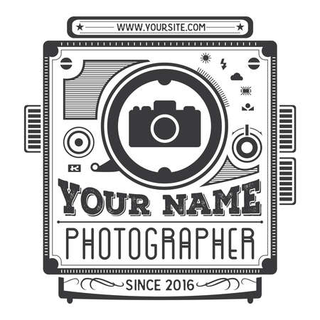 Retro vintage logotype of old camera for photographers.
