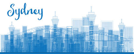 sydney skyline: Abstract Outline Sydney City skyline with skyscrapers. Vector illustration. Business travel and tourism concept with modern buildings. Image for presentation, banner, placard and web site. Illustration