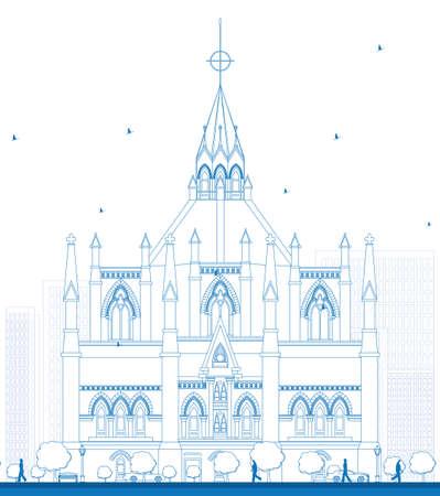 ontario: Outline Library of Parliament, Ottawa, Ontario, Canada. Illustration