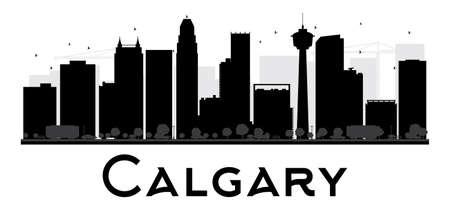 calgary: Calgary City skyline black and white silhouette. Illustration
