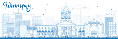 manitoba: Outline Winnipeg Skyline with Blue Buildings.