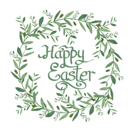 olive wreath: Happy Easter Text inside Watercolor olive wreath. Isolated illustration on white background. Organic and natural concept. Isolated on White Background. Easter Design Element for Your Works Stock Photo
