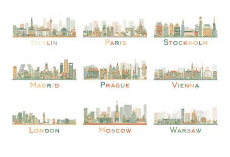 9 추상 유럽 도시의 스카이 라인의 집합입니다. 벡터 일러스트 레이 션. 세계 명소와 스카이 라인. 비즈니스 여행 및 관광 개념입니다. 프레 젠 테이 션, 일러스트