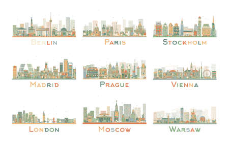 madrid spain: Set of 9 Abstract Europe City Skyline. Vector Illustration. Skyline with World Landmarks. Business travel and tourism concept. Image for presentation, banner, placard and web site.