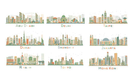 Set of 9 Abstract City Skyline. Vector Illustration. Skyline with World Landmarks. Business travel and tourism concept. Image for presentation, banner, placard and web site.