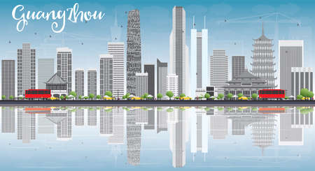 Guangzhou Skyline with Gray Buildings, Blue Sky and Reflections. Vector Illustration. Business Travel and Tourism Concept with Modern Buildings. Image for Presentation Banner Placard and Web Site.