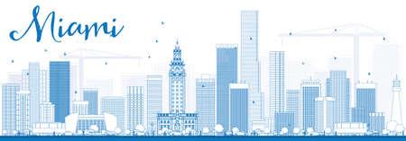 Outline Miami Skyline avec les bâtiments bleus. Vector Illustration. Voyage d'affaires et du tourisme Concept avec des bâtiments modernes. Photo pour Présentation Bannière Pancarte et du site Web.