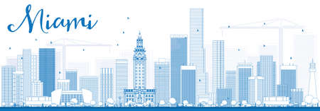 city background: Outline Miami Skyline with Blue Buildings. Vector Illustration. Business Travel and Tourism Concept with Modern Buildings. Image for Presentation Banner Placard and Web Site.