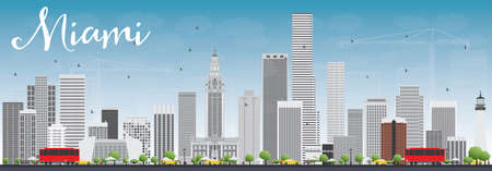 Miami Skyline with Gray Buildings and Blue Sky. Vector Illustration. Business Travel and Tourism Concept with Modern Buildings. Image for Presentation Banner Placard and Web Site.