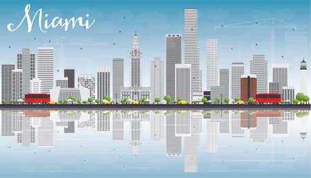 Miami Skyline avec gris Bâtiments, Blue Sky et réflexions. Vector Illustration. Voyage d'affaires et du tourisme Concept avec des bâtiments modernes. Photo pour Présentation Bannière Pancarte et du site Web.