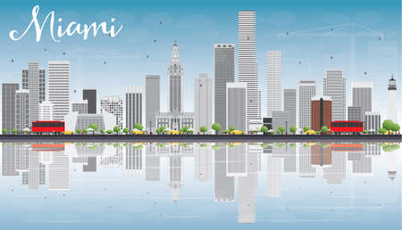 Miami Skyline with Gray Buildings, Blue Sky and Reflections. Vector Illustration. Business Travel and Tourism Concept with Modern Buildings. Image for Presentation Banner Placard and Web Site.