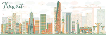 Abstract Kuwait City Skyline with Color Buildings. Vector Illustration. Business Travel and Tourism Concept with Modern Buildings. Image for Presentation Banner Placard and Web Site. Illustration